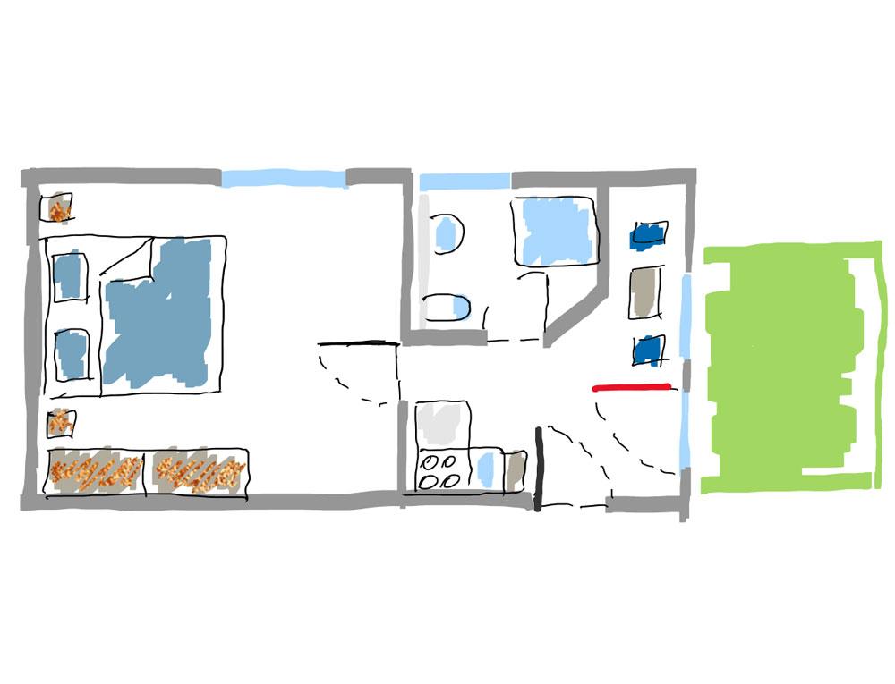 """Grundriss des Apartments """"Seepferdchen"""""""