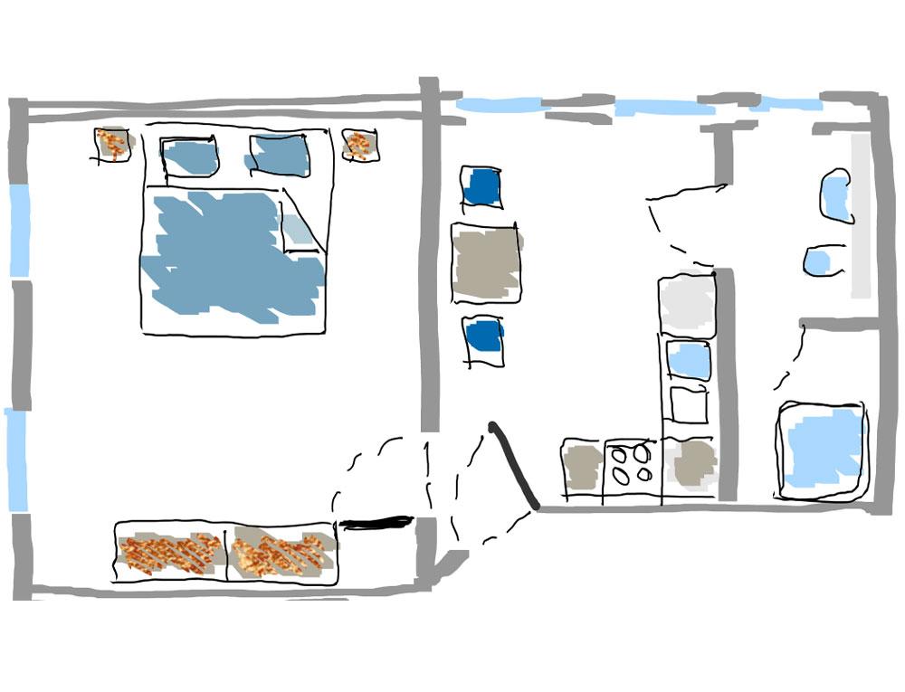 "Grundriss des Apartments ""Strandkrabbe"""